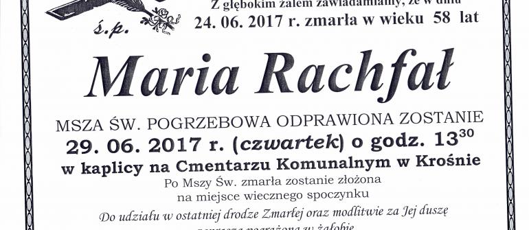 Zmarła Maria Rachfał